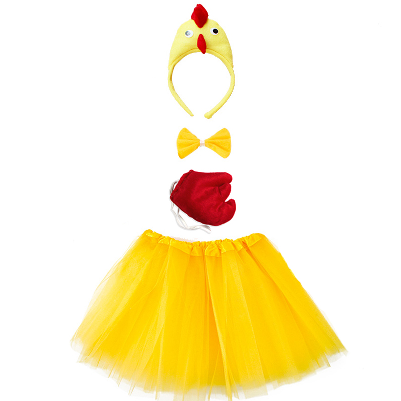 Animal Costume for Kid Adult Chicken Duck Cock Cosplay Headband Tutu Skirt Tie Tail Girl Women Halloween Carnival Costume