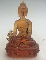 Exquisite Chinese Old style Yellow Crystal Glass Liuli Buddha statue
