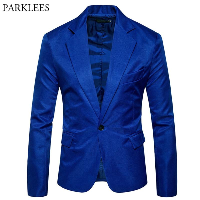 Royal Blue One Button Slim Fit Blazer Jacket Men 2018 Brand  Peak Lapel Collar Men Suite Casual Party Wedding Blazers Hombre 2XL