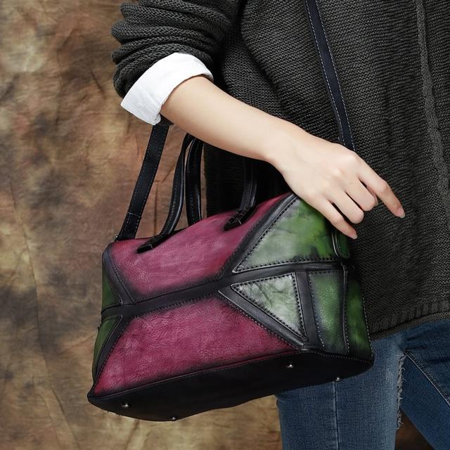 2017 Vintage Genuine Leather Women Handbag Handmade Cow Leather Top Handle Bag Mix Pink Green Shoulder Messenger Bag