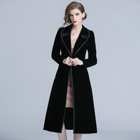 2019 New Women Windbreaker Elegant Vintage Fashion Slim Long Sleeve Black Long Velvet Trench Coat Female Outerwear Cardigan