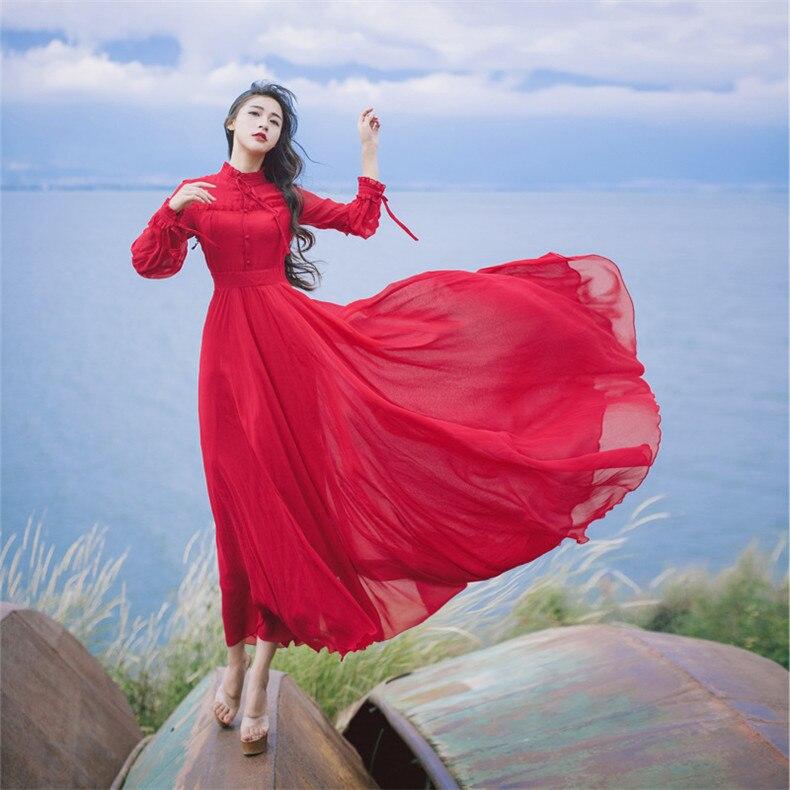 Nueva alta calidad explosiones ocio elegante vestidos rojos mujeres encaje primavera Casual Camisa vestido-in Vestidos from Ropa de mujer    3
