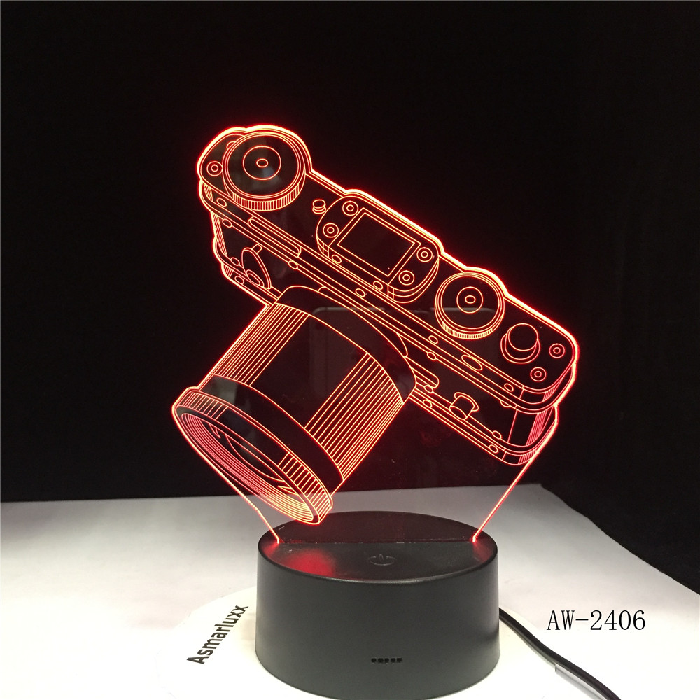 Novelty Camera 3D LED Lamp Battery Power Light Touch 7 Color Changing USB Table Night Light Bedside Decoration Dropship AW-2406