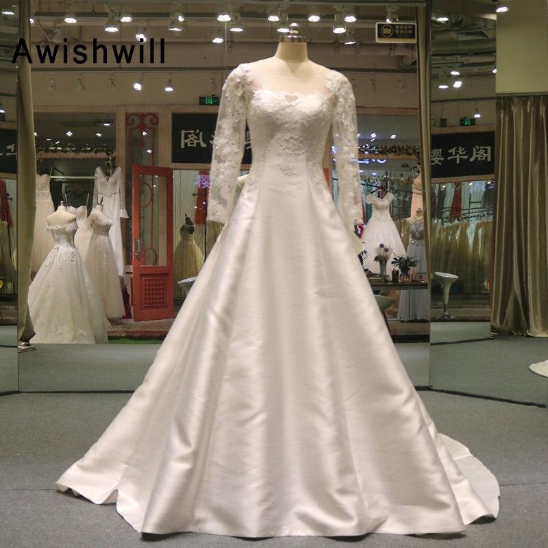 Vestido De Noiva Court Train Lace Satin Vintage Wedding Dresses With Bow Long Sleeves A-line Wedding Gowns Plus Size