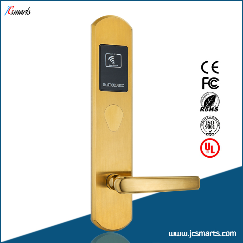 Gold/Silver smart IC access card hotel door lock with free software rfid t5577 hotel lock stainless steel material gold silver color a test t5577 card sn ca 8006
