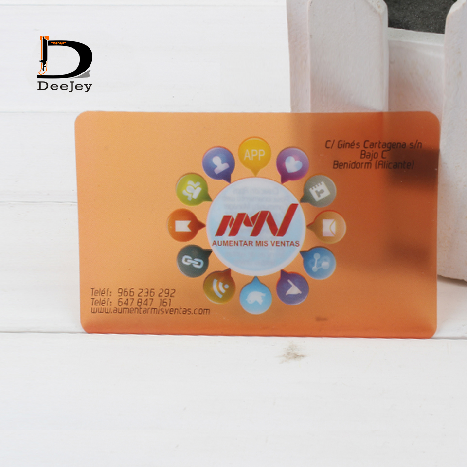Custom printed business card PVC transparent frosted clear see ...