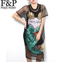 2016 Summer Women Sexy Street Fashion Dress Black Cartoon Mermaid Sequins Mesh Dress Perspective Dress