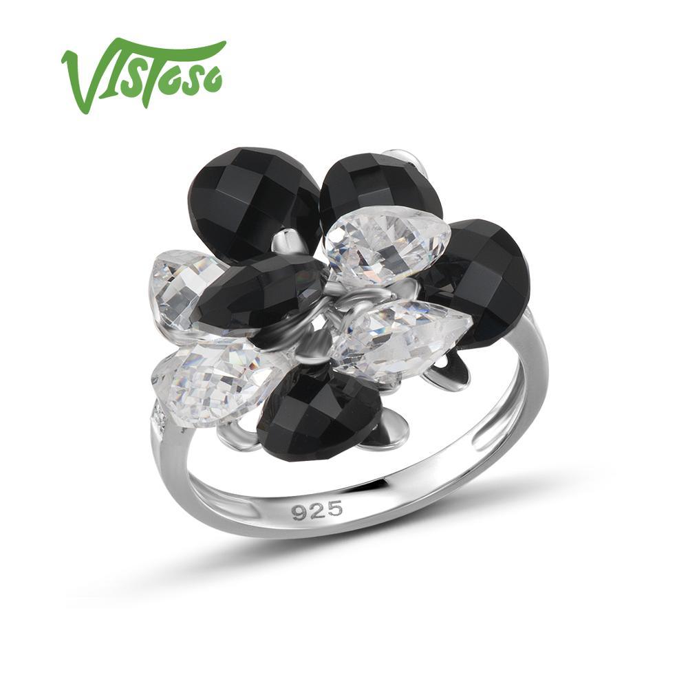 VISTOSO 925 Esterlina Anéis de Prata Para As Mulheres Deslumbrantes Black Onyx Branco Cubic Zirconia Genuine 925 Prata Esterlina Jóias Finas