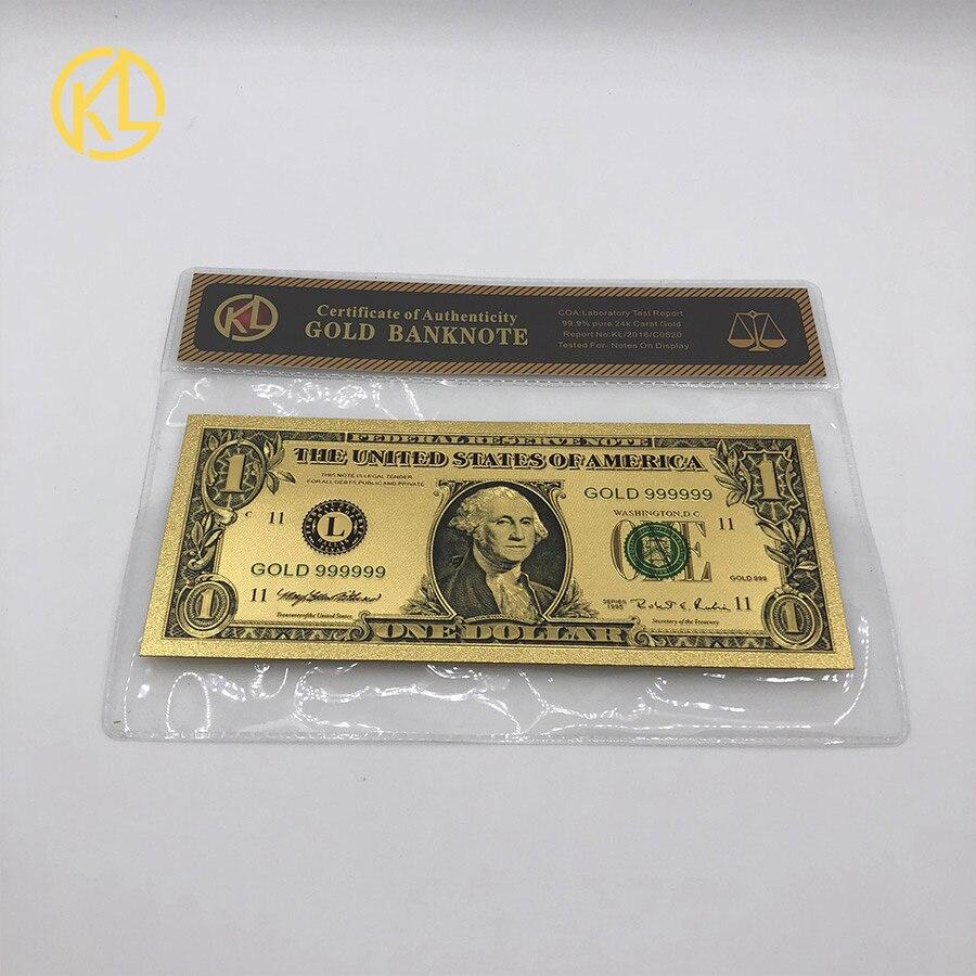 Frete grátis 1pc americano 1 dólar 24k banhado a ouro dinheiro falso estados unidos nota de bill com com quadro coa