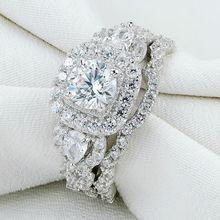 Новое Прибытие Размер 5-10 2 шт. Стерлингового Серебра 925 Halo Обручальное Кольцо Наборы Для Женщин JR5249