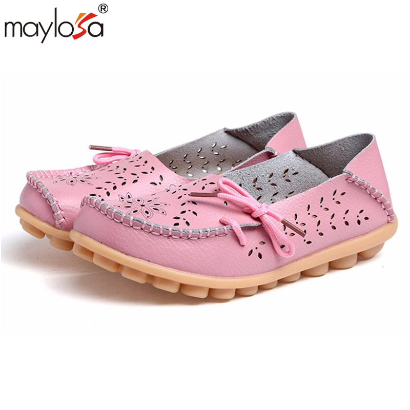MAYLOSA Women Flats Solid Cut outs Comfortable Women Casual Shoes Round Toe Moccasins Loafers Wild Breathable