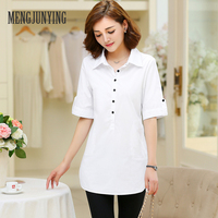 MJY Blusas Ladies OL Elegant Women 2017 Korean Style Half Sleeve With Buttons Cotton Ladies Office