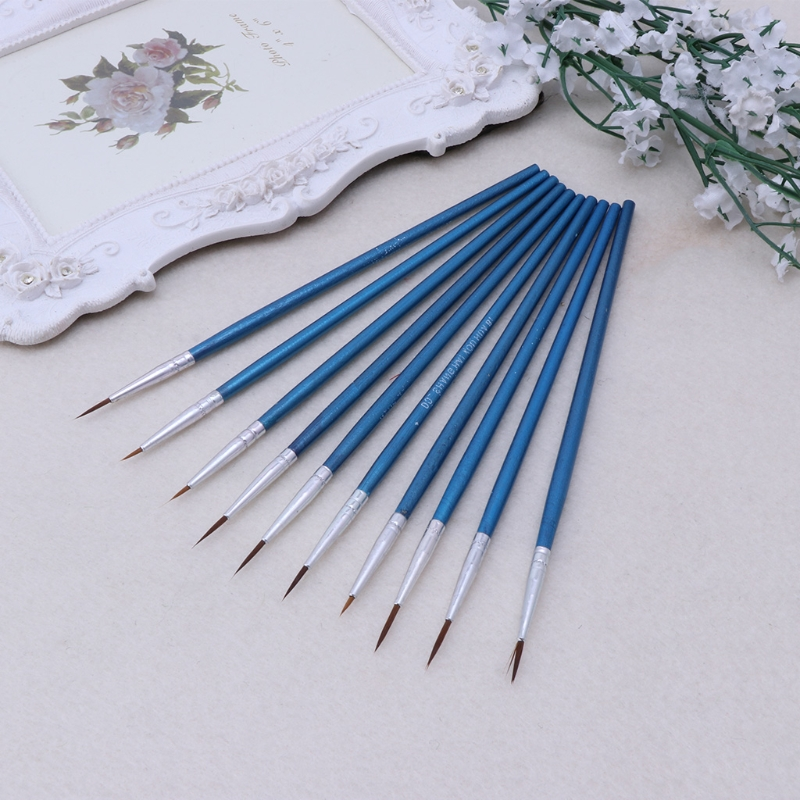 10 Pcs/Set Fine artist Thin Hook Line Pen Blue Art Supplies Drawing Art Pen Paint Brush Nylon Brush Painting Pen mark pen image