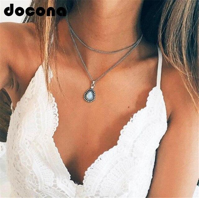 docona Retro Water Drop Stone Pendant Necklaces for Women Silver Bohemia Beach C