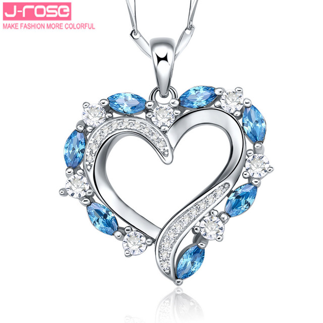 Jrose Heart Style 1.49ct London Blue CZ Pendant Silver 925 Sterling Romantic Jewelry Accessories Free Shipping Without Chain
