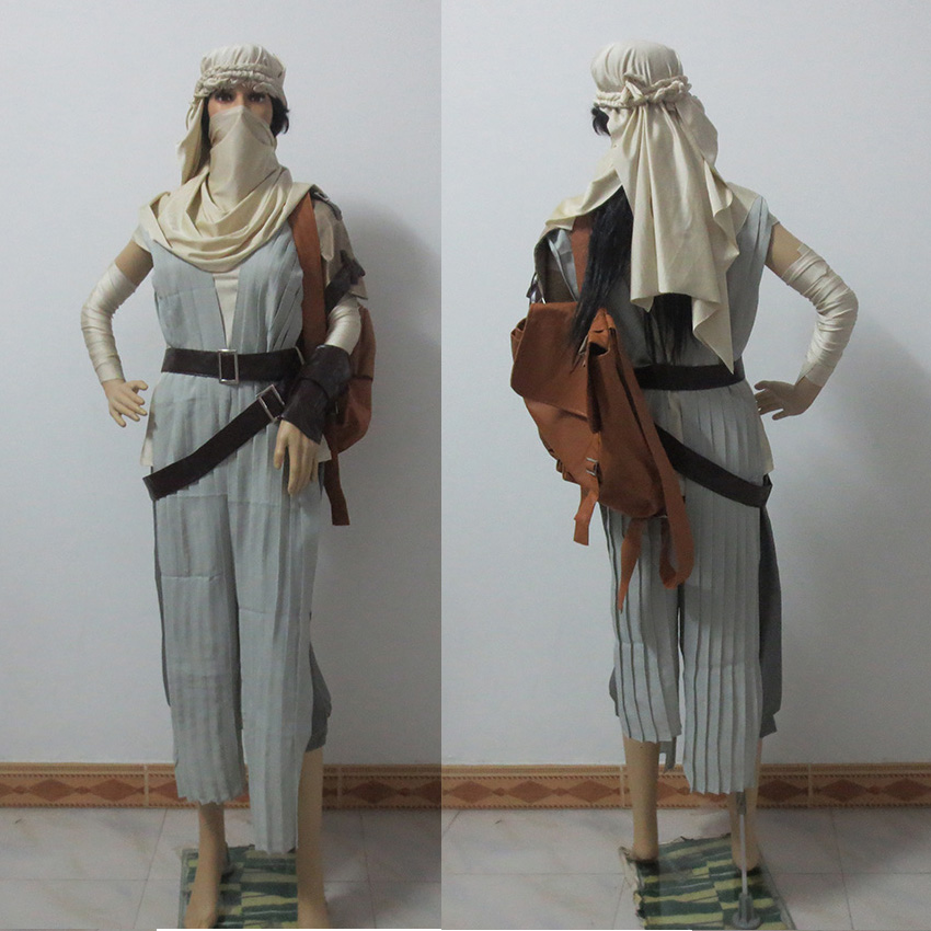 Star Wars 7:The Force Awakens Rey Uniform Moive Jedi Halloween Cosplay Costumes For Adult Women Custom Made Halloween Costume