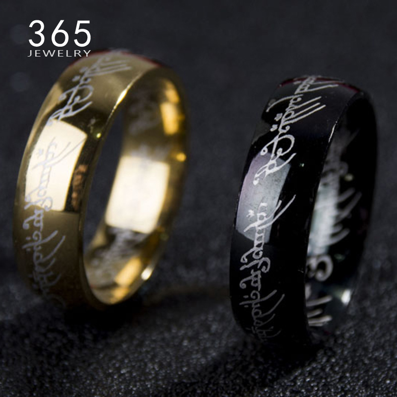 2016 magic letter the hobbit lord of the rings black silver gold titanium stainless steel ring for men women senhor dos aneis