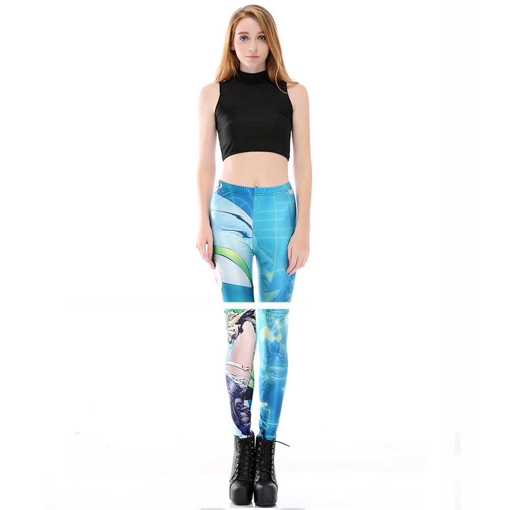 Digital Printing Elastic Casual Pants Cartoon Woman Warrior Pattern Women Leggings 7 sizes Fitness Clothing Free Shipping