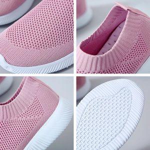 Image 5 - Zapatos informales para mujer Zapatillas de deporte planas con malla de aire, sin cordones, vulcanizados, 2019
