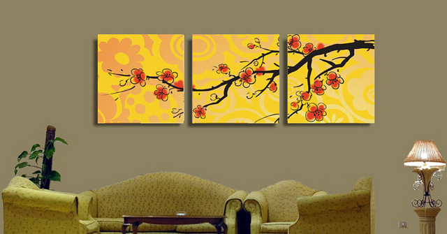 Framed modern wall paint On Canvas 3 piece yellow background oil ...