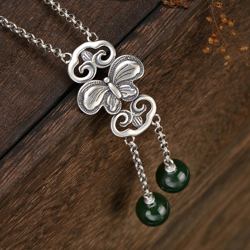 2018 New silver S925 pure silver retro matte Butterfly Pendant mosaic and Tian Yu jade ball beads lady chain wholesale