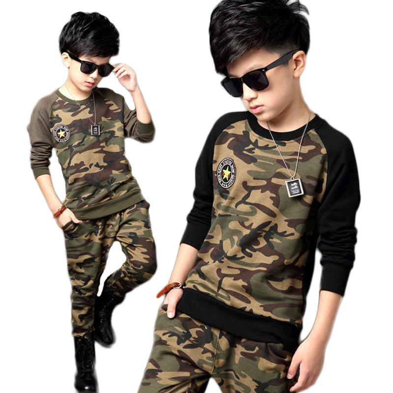 Childrens wear suits boys camouflage uniforms costumes sports long sleeve pullover + pants camo autumn winter leisure clothing
