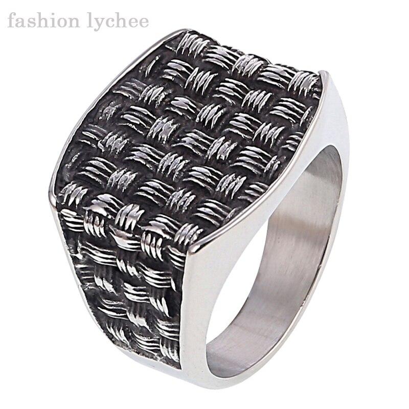 fashion lychee Punk Rock Titanium Enamel Grid Pattern Signet Biker Ring Men Retro Finger Rings Jewelry Accessories