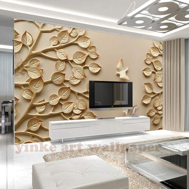 custom 3d wallpaper stereo rich tree relief wood carving. Black Bedroom Furniture Sets. Home Design Ideas