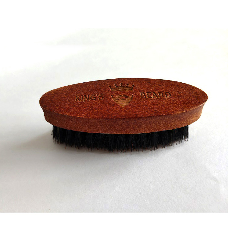 1PCS Men's Shaving Brush Portable Mini Boar Bristle Beard Brush Mustache Beard Care Engrave Logo 8.5cm