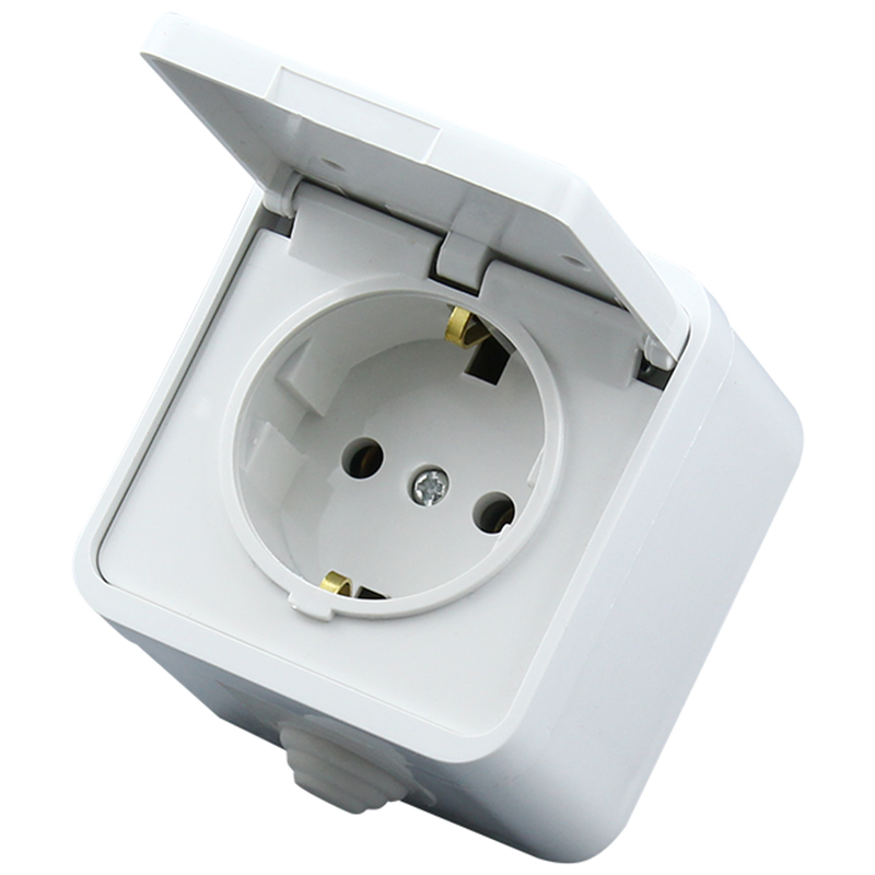 European 2P+E <font><b>16A</b></font> <font><b>250V</b></font> anti-splash power outlet white EU German Waterproof socket Germany cable socket with cover image