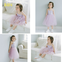 B N Hot Sale Spring Summer Girl Dress Cotton Casual Kids Dresses With Mesh Dance Party