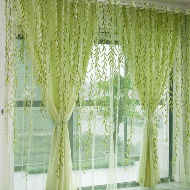 1 Stücke Grün Willow Sheer Vorhang Für Wohnzimmer Fenster Blackout Vorhänge  Stoff Wohnkultur Vorhänge Grün Tüll