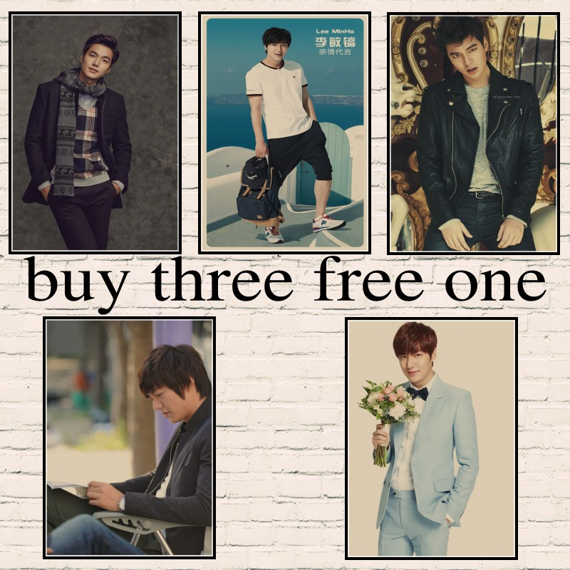 Actor Lee Min Ho  Korean famous stars Kraft paper posters Painting Wall Art Home living room Decor Painted wall sticker Рубашка