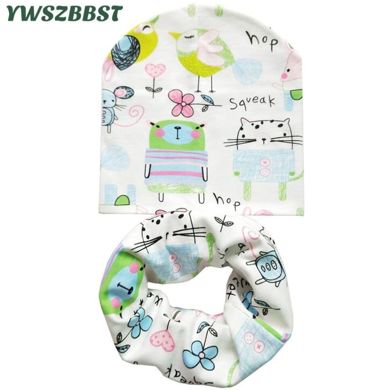 Autumn Winter Cotton Baby Hat Scarf Set Animal Print Children Hats Baby Girls Hat Baby Boys Neck Scarf Collar Kids Beanie Cap(China)
