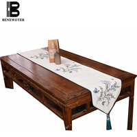 New Chinese Style Modern Brief Classical Linen Table Runner Traditional Handmade Embroidery Teaware Mat Wedding Party Decoration
