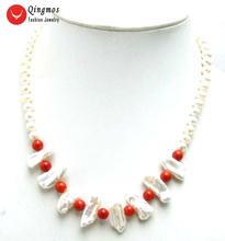 Женское Ожерелье с натуральным жемчугом qingmos 6 7 мм круглая