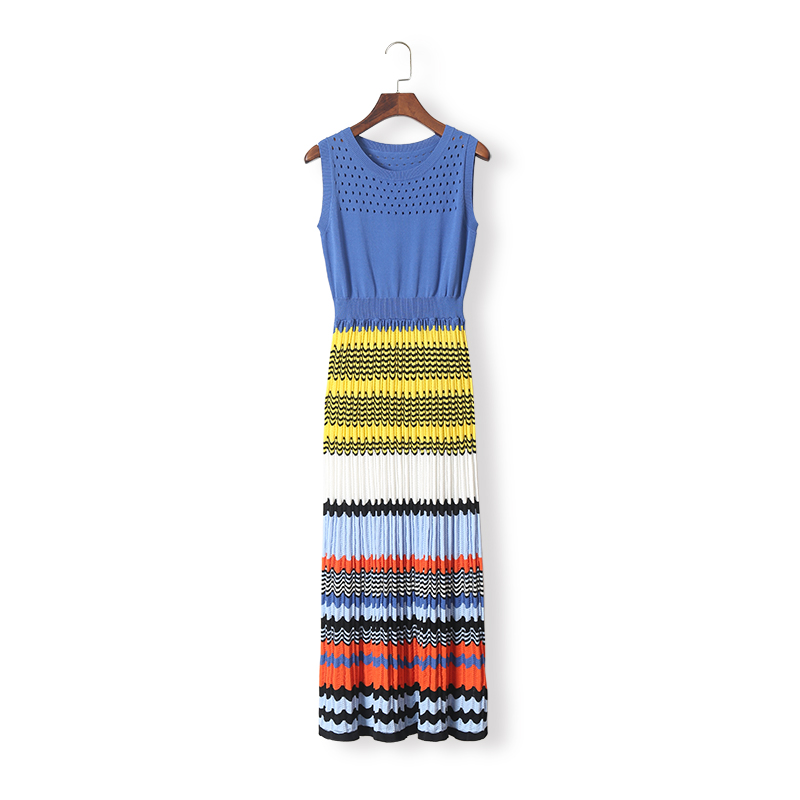 Women fashion color block striped knit dress sleeveless summer slim long hollow out dresses new 2018 summer female twotwinstyle striped dress female deep v neck long sleeve slim bandage summer dresses for women hollow out ol style fashion tide