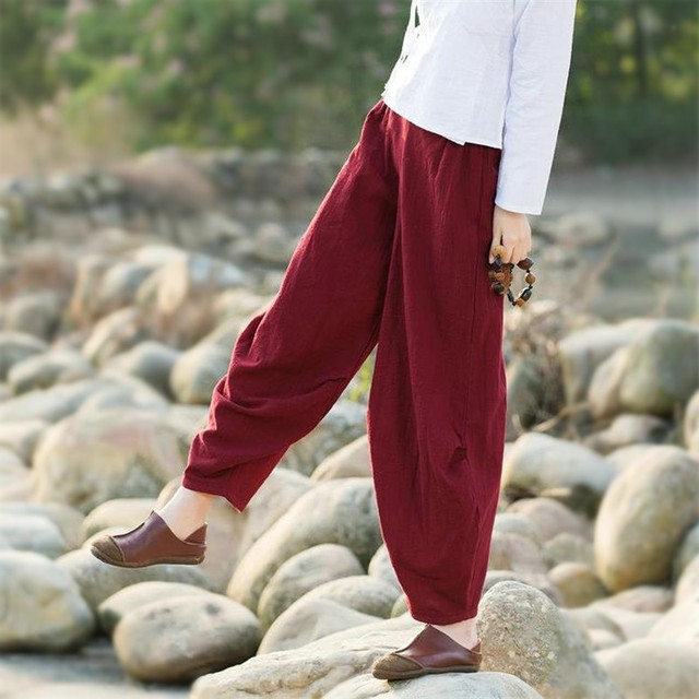 Women Cotton Linen Harem Pants Spring Fall Loose Trousers Vintage Solid Color Black Red Loose Casual Pants