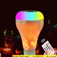 Smart E27 LED Bulb 110V 240V Light Bulb 18W 16 Color Flame Bulb Bluetooth 4.0 Speaker RGB White Music Dimmable LED Lamp