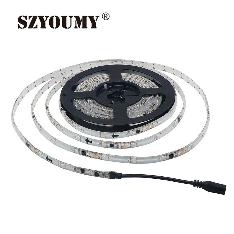 Szyoumy WS 2811 светодиодные полосы мечта Цвет 30 светодиодов/м DC 12 В 5050 IP 65 Водонепроницаемый RGB Авто изменение Цвет гибкие Клейкие ленты свет