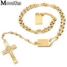 Moorvan 4mm,66cm long gold color men rosary bead necklace Stainless steel Religion of Jesus ,women cross jewelry, 2 colors