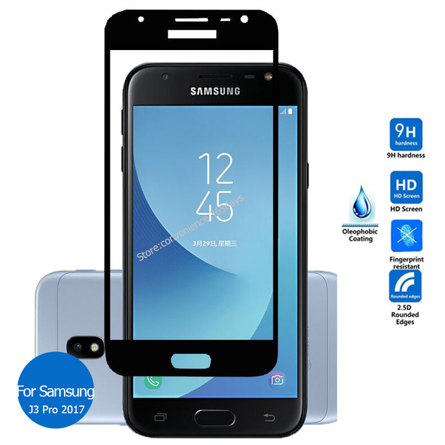 super popular a8903 518d5 US $4.92  Tempered Glass Screen Protector For Samsung Galaxy J3 Pro 2017  Full Cover All Body Safety Glass on J 3 330F 330G J330F J330G-in Phone  Screen ...