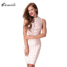 2018 Women Prom Party Summer Mesh Bandage Dress Studded Button Sleeveless Knee-length Celebrity Cocktail Bodycon Dress