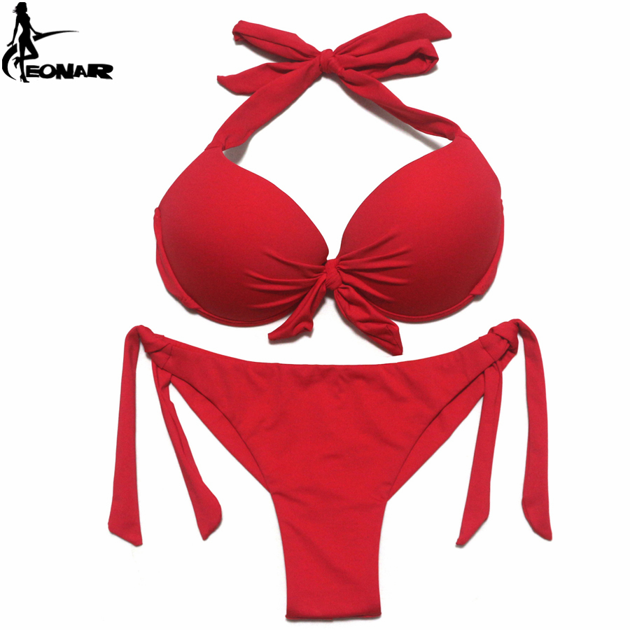 Image 3 - EONAR 2020 Bikini Solid Swimsuits Women Push Up Bikini Set Brazilian Cut/Classic Bottom Bathing Suits Sexy Plus Size SwimwearBikini Set   -
