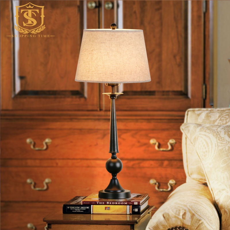 American Rustic Style Cast Iron Table Lamp E27 Fabric Lamp Shade