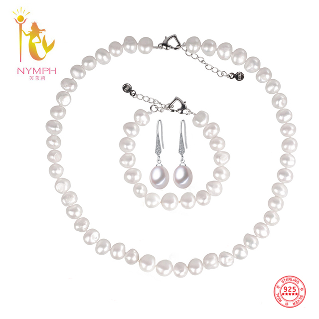 NYMPH 925 Sterling Silver Pearl Jewelery Set White Natural Freshwater Pearl Necklace/Earrings/Bracelet Sets Wedding Jewelry Gift