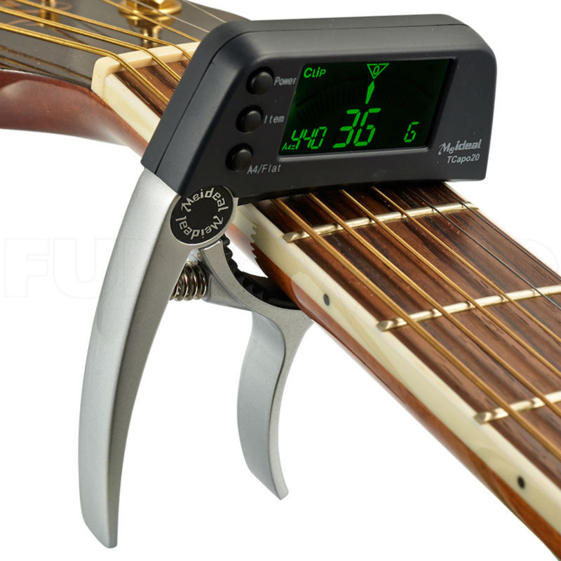Silver Capo & Tuner 2 in 1 for Guitar and Bass Big LCD Clip On Clip-on Tuner Musical Instrument dedo ma 11 zinc alloy capo clip on quick release capo for guitar silver