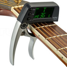 Silver Capo & Tuner 2 in 1 for Guitar and Bass Big LCD Clip On Clip-on Tuner Musical Instrument