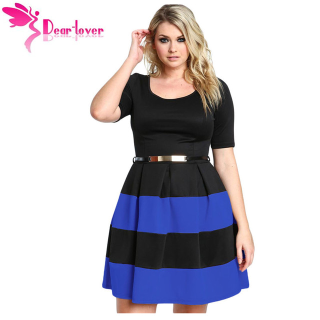 Dear-Lover Women Work Wear Short Sleeve A Line Burgundy Stripes Detail Belted Plus Size Skater Dress Vestido LC22806 cheap price