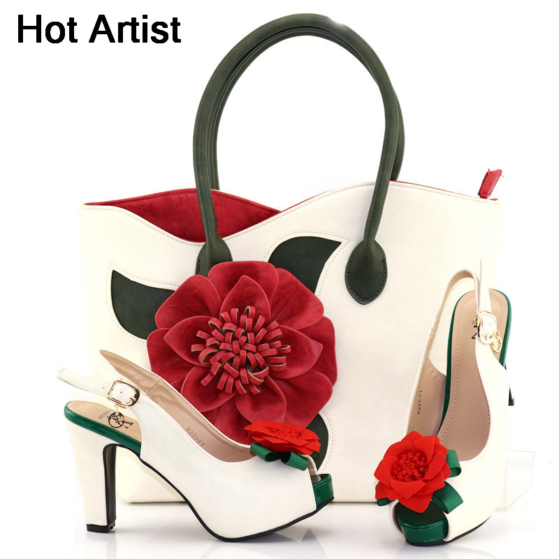 Hot Artist 2018 Italian PU Leather Shoes And Matching Bag Set African High Heels Shoes And Bag Set For Wedding Party YF-F1 hot artist latest italian high heels shoes and bag set for party african women shoes and matching bag set size 38 43 mm1056